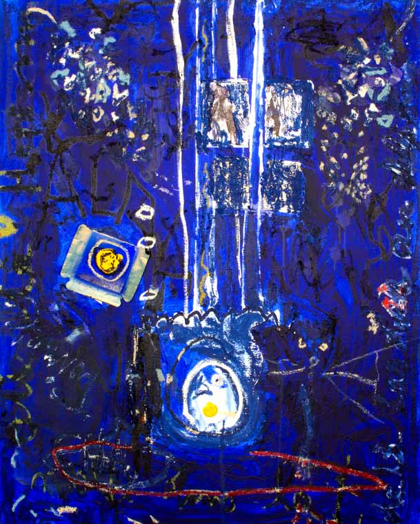 Chat noir à l'ombre de la cathédrale, technique mixte, 120 cm x 92 cm, 2004