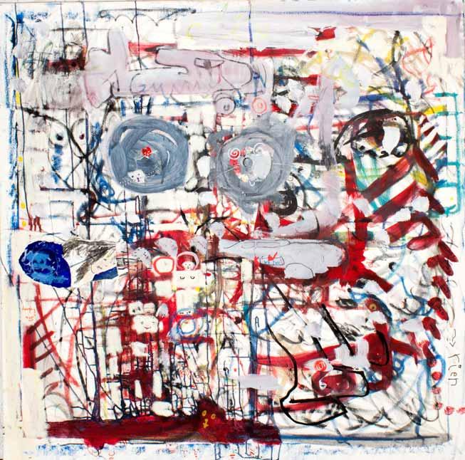 Auto-portrait dans un monde riant, technique mixte, 120 cm x 120 cm, 2010